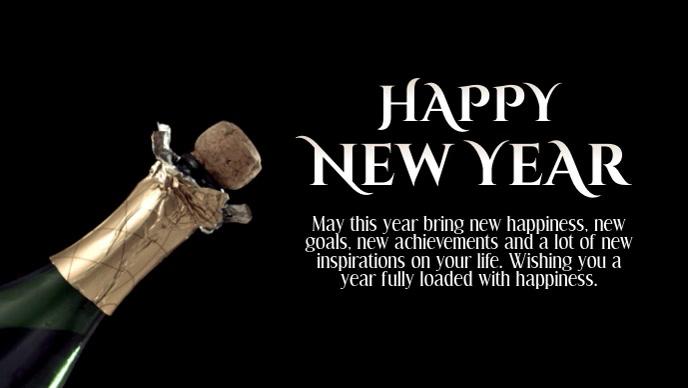 Happy new year greeting video wish champagne
