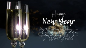 happy New year greetings Wishes Champagne Ad