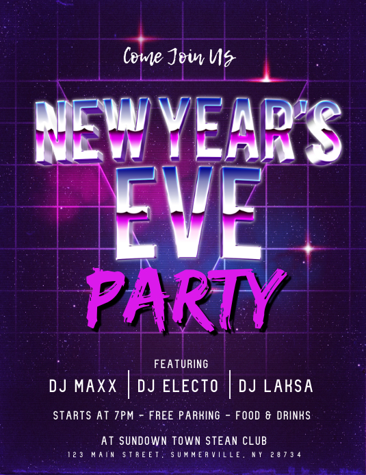 happy new year party flyer customize template