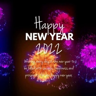 Happy New Year video Firework Square message template