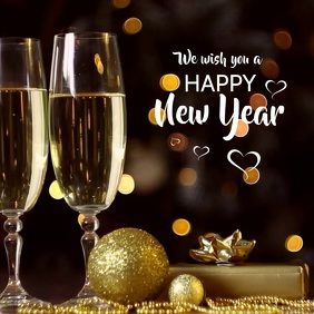 Happy New Year Video Gold Champagne Wishes ad