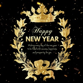 Happy New Year Video Greeting Golden Glam Ad
