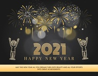 Happy New Year Wish Greeting Card Flyer (Letter pang-US) template