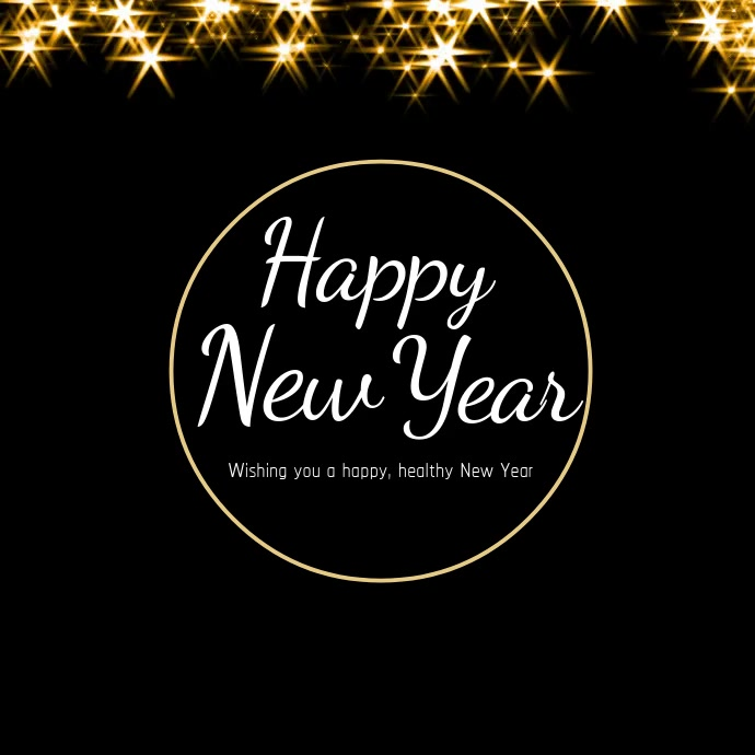 Happy New Year Wishes Card Video Stars Gold