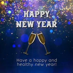Happy New Year Wishes Glam Shine Glitter Ad