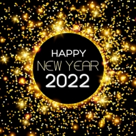 Happy New Year Wishes Greeting Golden Sparkle