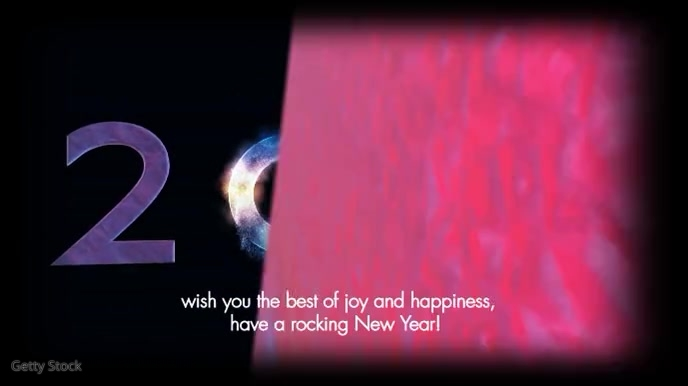 Happy New Year Wishes Greetings Message Video Digital na Display (16:9) template