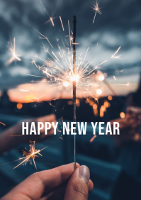 Happy new year wishes sparkler flyer poster t