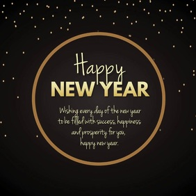 happy new Year wishes video card square gold