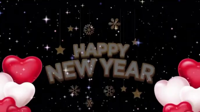 Happy new year wishes video Digitale display (16:9) template