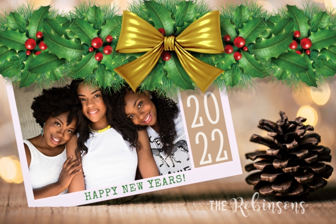 Happy New Years Photo Card Rótulo template