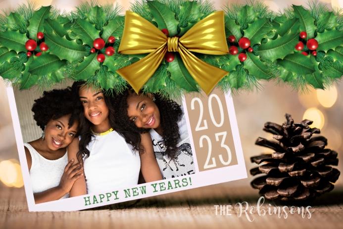 Happy New Years Photo Card Tatak template