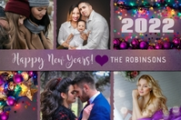 Happy New Years Photo Collage Card 标签 template