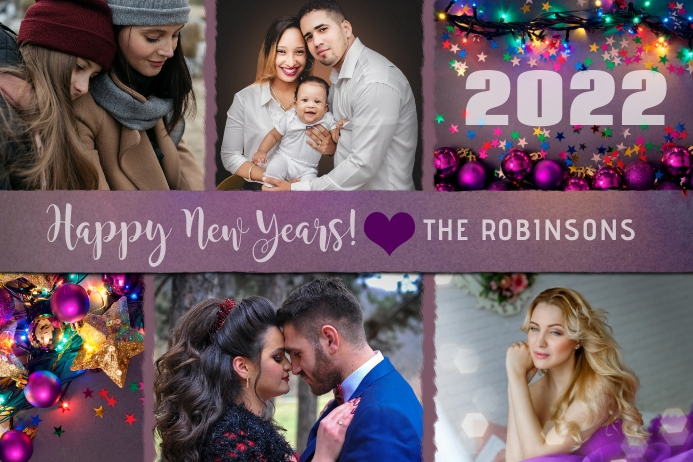 Happy New Years Photo Collage Card Rótulo template