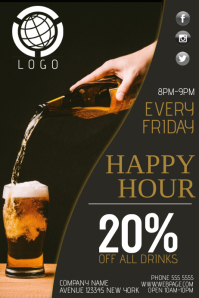 happy our drinks bar business flyer template