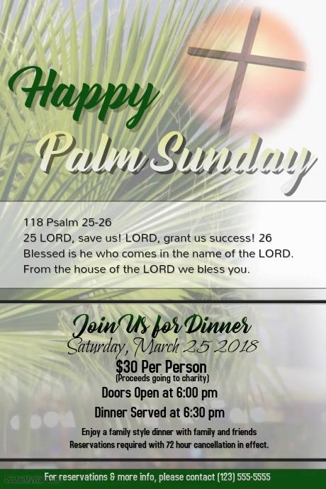 happy palm sunday dinner 2 template | postermywall