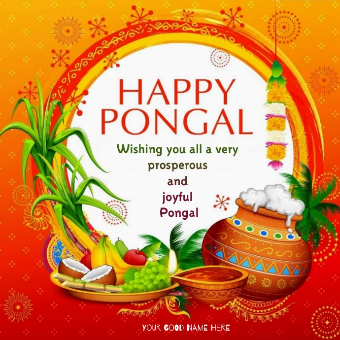 happy pongal wishes wallpaper Instagram-opslag template
