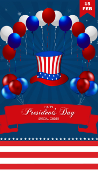 Happy President's Day Digitale display (9:16) template