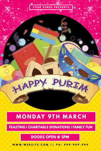 Happy Purim Poster template