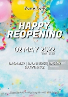 Happy reopening balloons celebration flyer ad