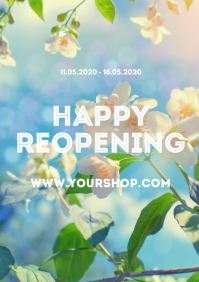 Happy reopening Flyer poster advert flowers