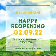 Happy Reopening Open aigain Flyer Poster Adve Square (1:1) template