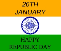 HAPPY REPUBLIC DAY FLAG TEMPLATE Large Rectangle