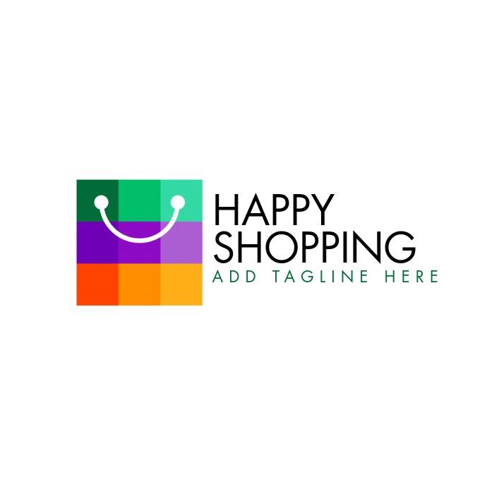 Creative Supermarket Logo Template: Happy Shopping Logo Icon Ecommerce Template
