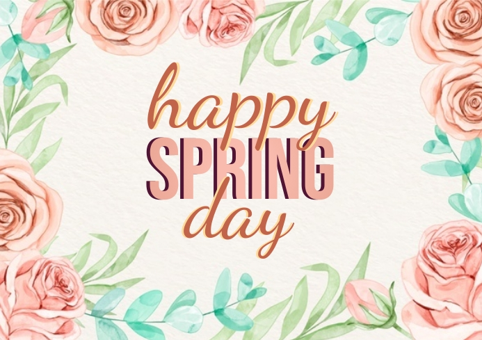HAPPY SPRING DAY CARD AD TEMPLATE A4
