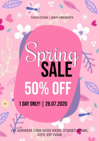 happy Spring Sale Flyer Template A4