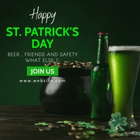Happy st. patrick's day green and white color Pos Instagram template