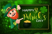 Happy St. Patrick's Day Greeting Card Etiqueta template