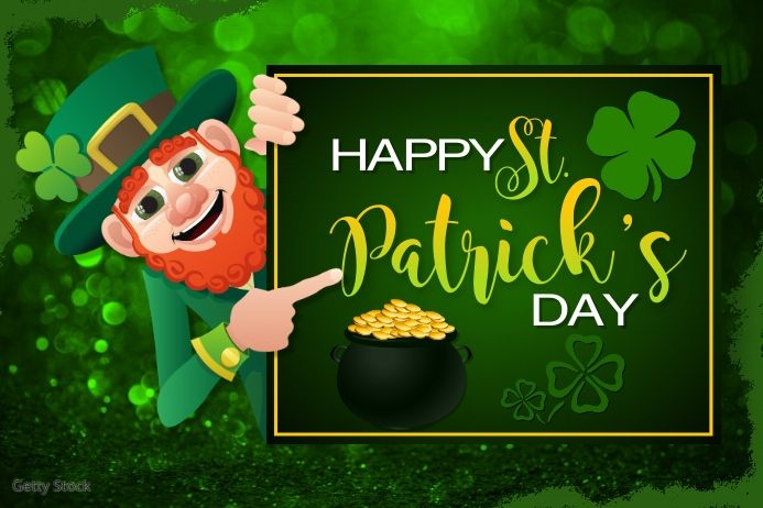 Happy St. Patrick's Day Greeting Card Etiket template