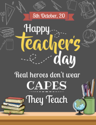 Happy Teacher's Day Flyer Template Ulotka (US Letter)