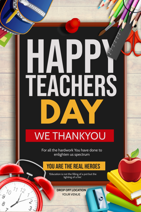 Happy teachers day Póster template