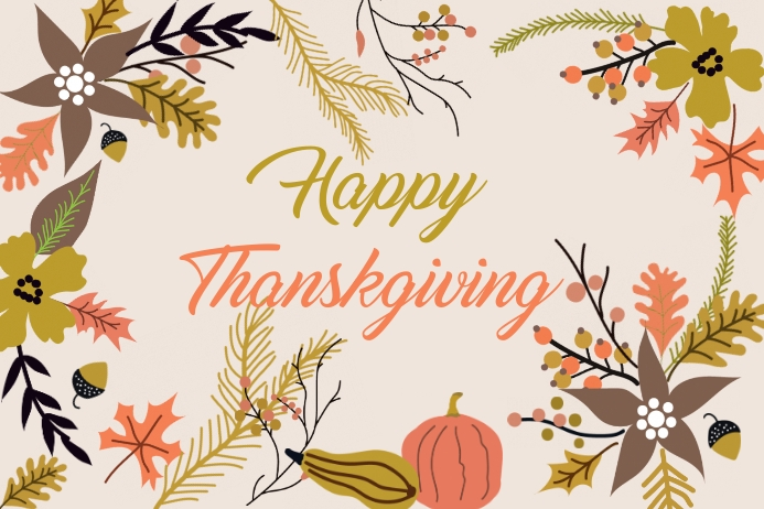 Happy thanksgiving card Etiket template