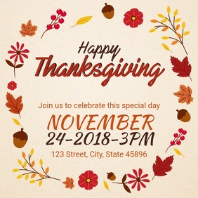Happy Thanksgiving Party Invitation Video Advert Carré (1:1) template