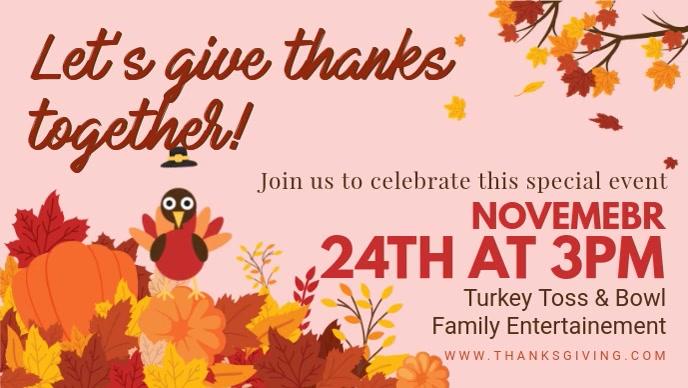 Happy Thanksgiving Turkey Dinner Facebook Invitation