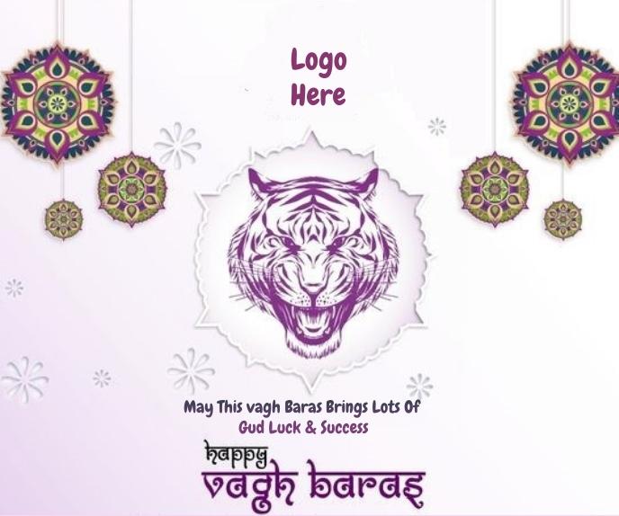 Happy Vagh Baras Wishes Wallpaper Großes Rechteck template