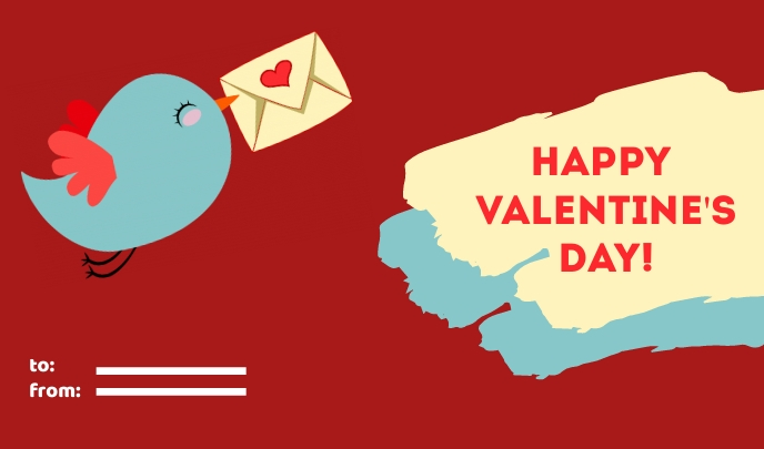 Happy Valentine's Day Card and Tags Cartellino template