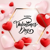 HAPPY VALENTINE'S DAY CARD POST TEMPLATE Kvadrat (1:1)