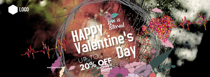 Happy valentine's Day Foto Sampul Facebook template