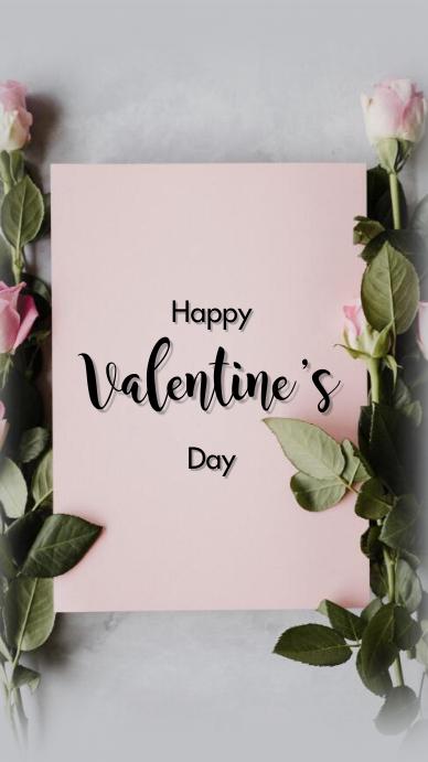 Happy Valentine's day งานแสดงผลงานแบบดิจิทัล (9:16) template