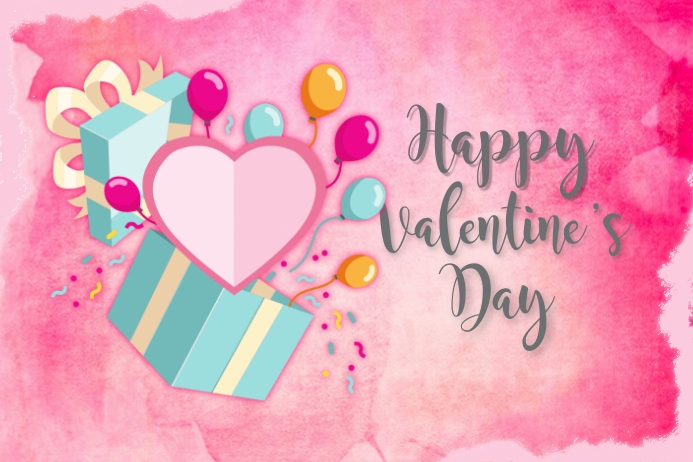 Happy Valentine's Day Greeting Card Etiket template