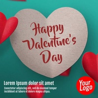 Happy Valentine's Day greeting video card Square (1:1) template