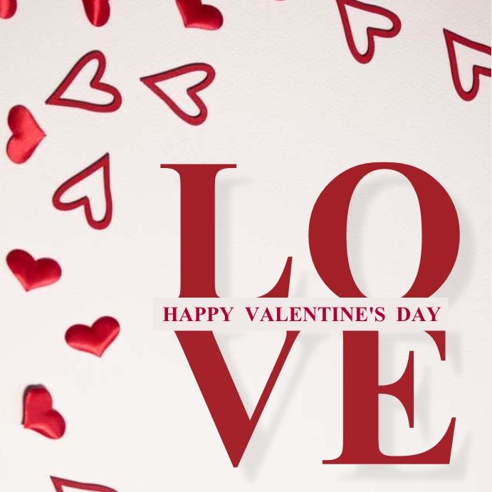 HAPPY VALENTINE'S DAY MESSAGE CARD Template โพสต์บน Instagram
