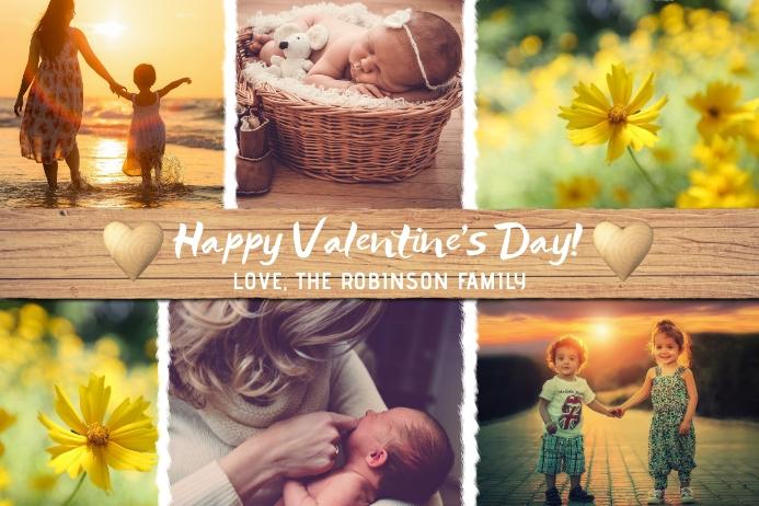 Happy Valentine's Day Photo Collage Card Etichetta template