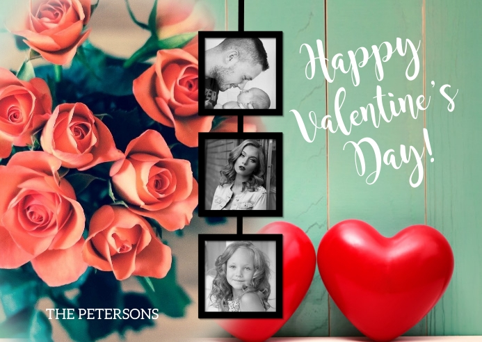 Happy Valentine's Day Photo Postcard Postkort template