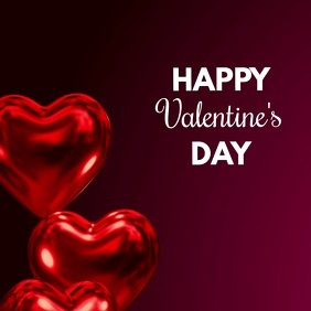 Happy Valentine's Day Video Heart Balloons Ad Сообщение Instagram template