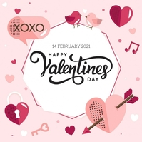 happy valentine's day wishes design template โพสต์บน Instagram